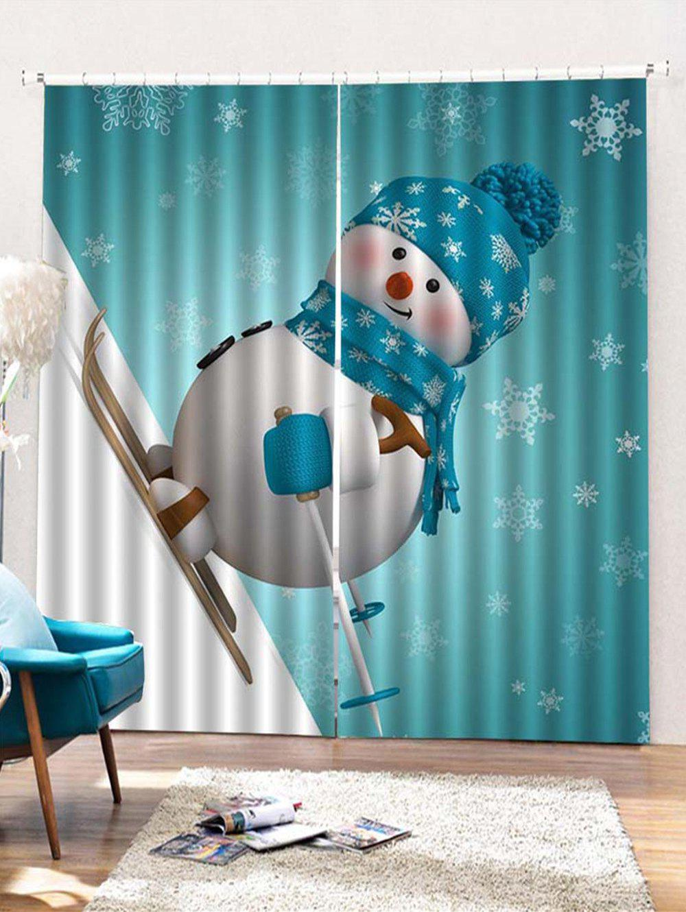 Sale 2PCS Skiing Christmas Snowman Pattern Window Curtains