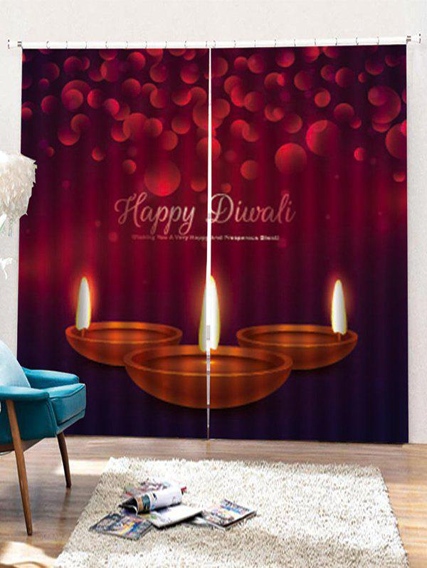 New 2PCS Christmas Candles Pattern Window Curtains
