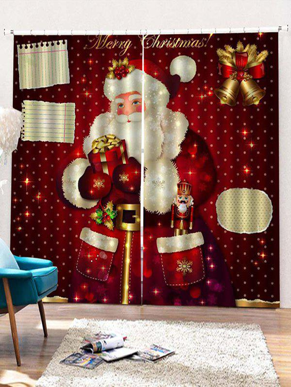 Outfit 2PCS Gift Father Christmas Pattern Window Curtains