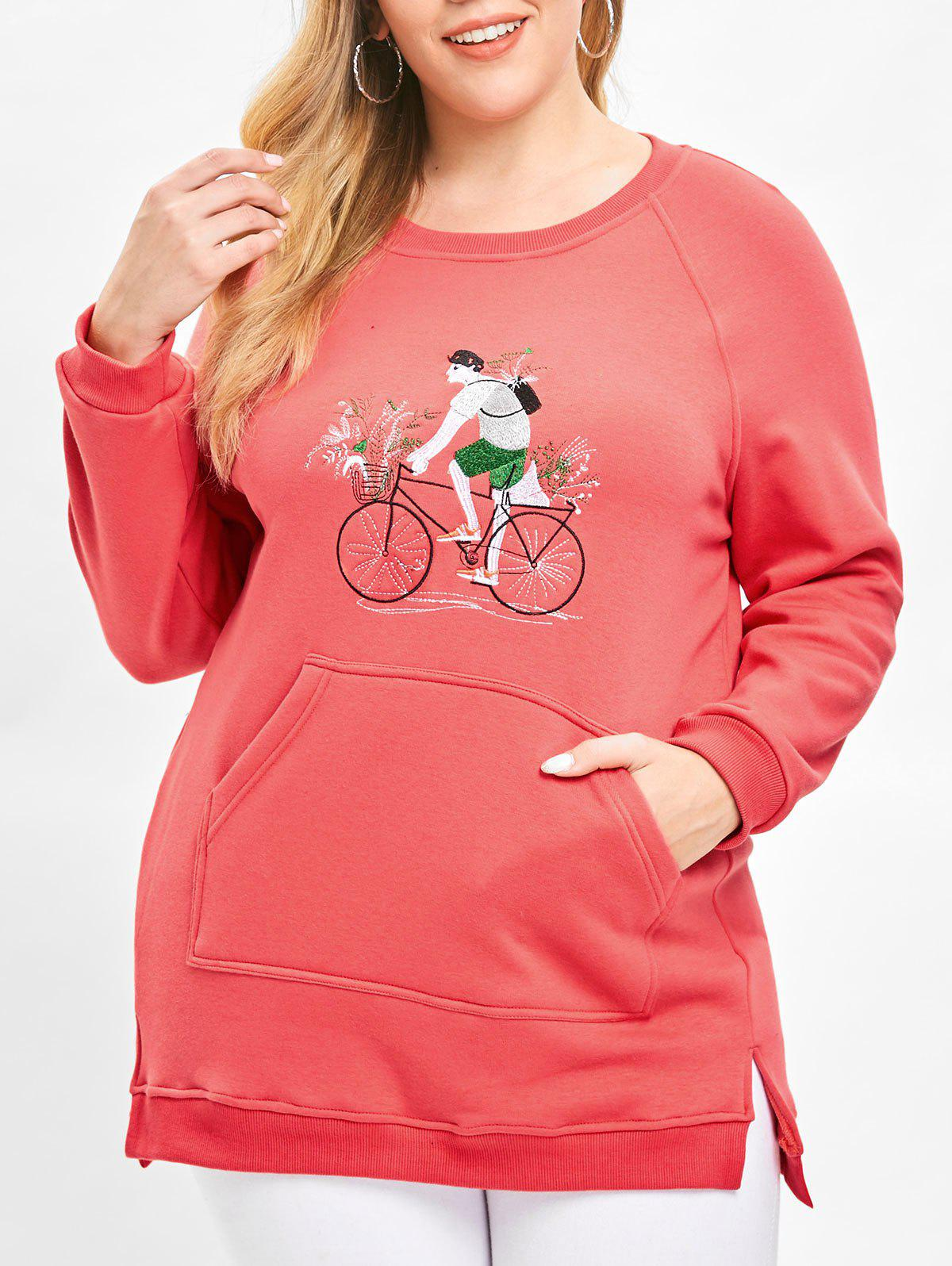 Discount Plus Size Pullover Embroidered Fleece Sweatshirt with Slit