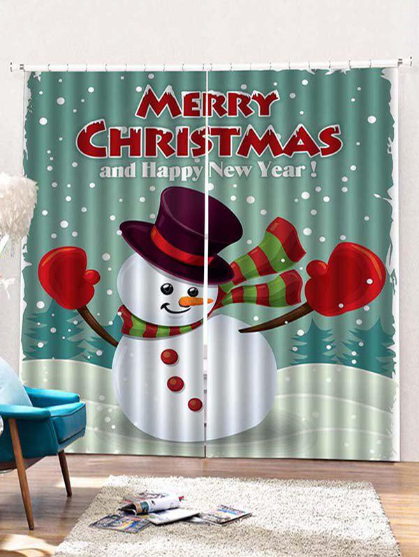 Cheap 2PCS Merry Christmas Snowman Pattern Window Curtains