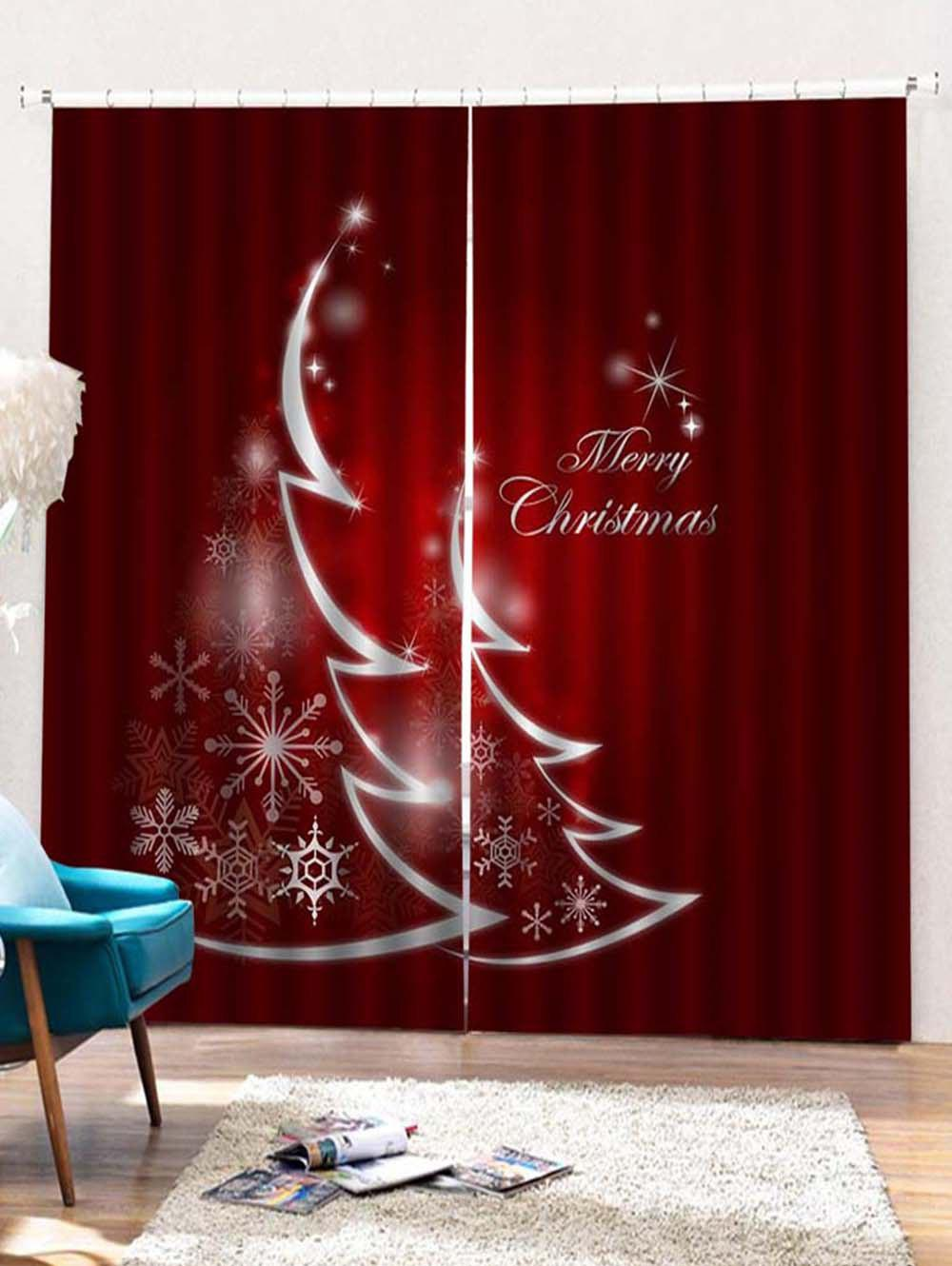 Fashion 2PCS Merry Christmas Snowflake Pattern Window Curtains