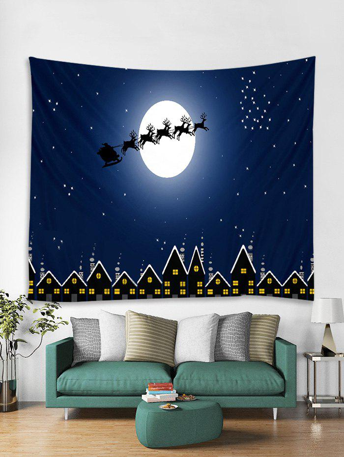 Unique Christmas Moon Night Print Tapestry Wall Hanging Art Decoration