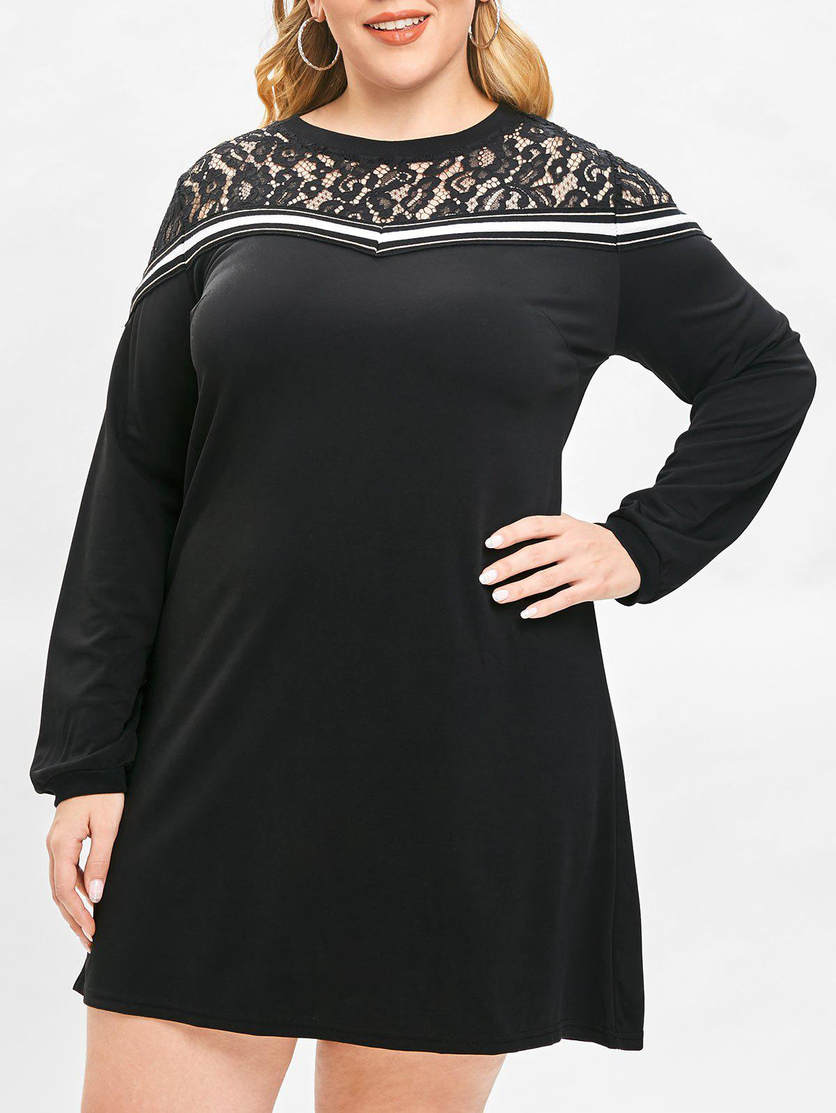 Trendy Plus Size Lace Panel Tunic Shift Dress
