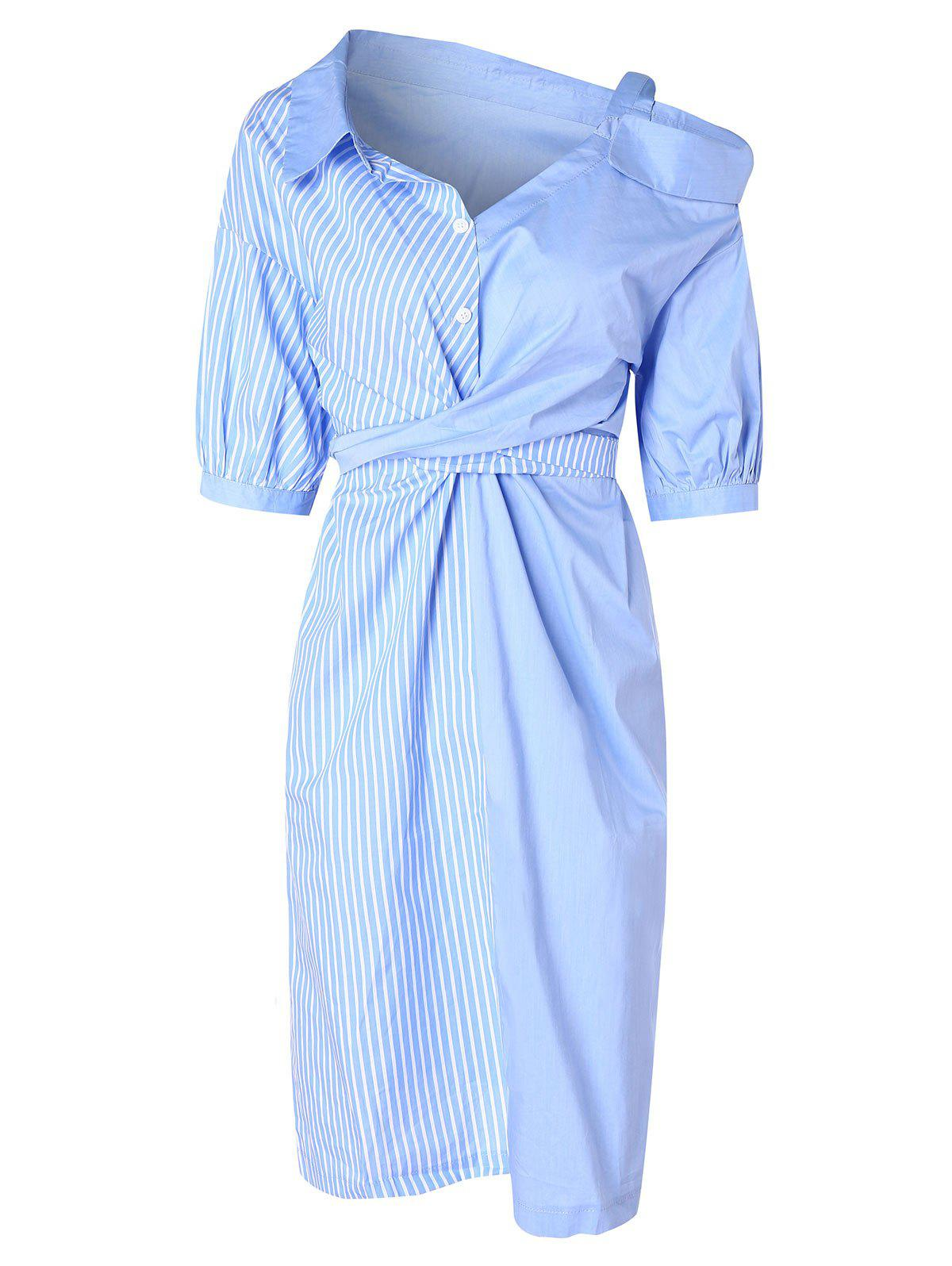 Outfits Cold Shoulder Asymmetrical Striped Shirt Dress