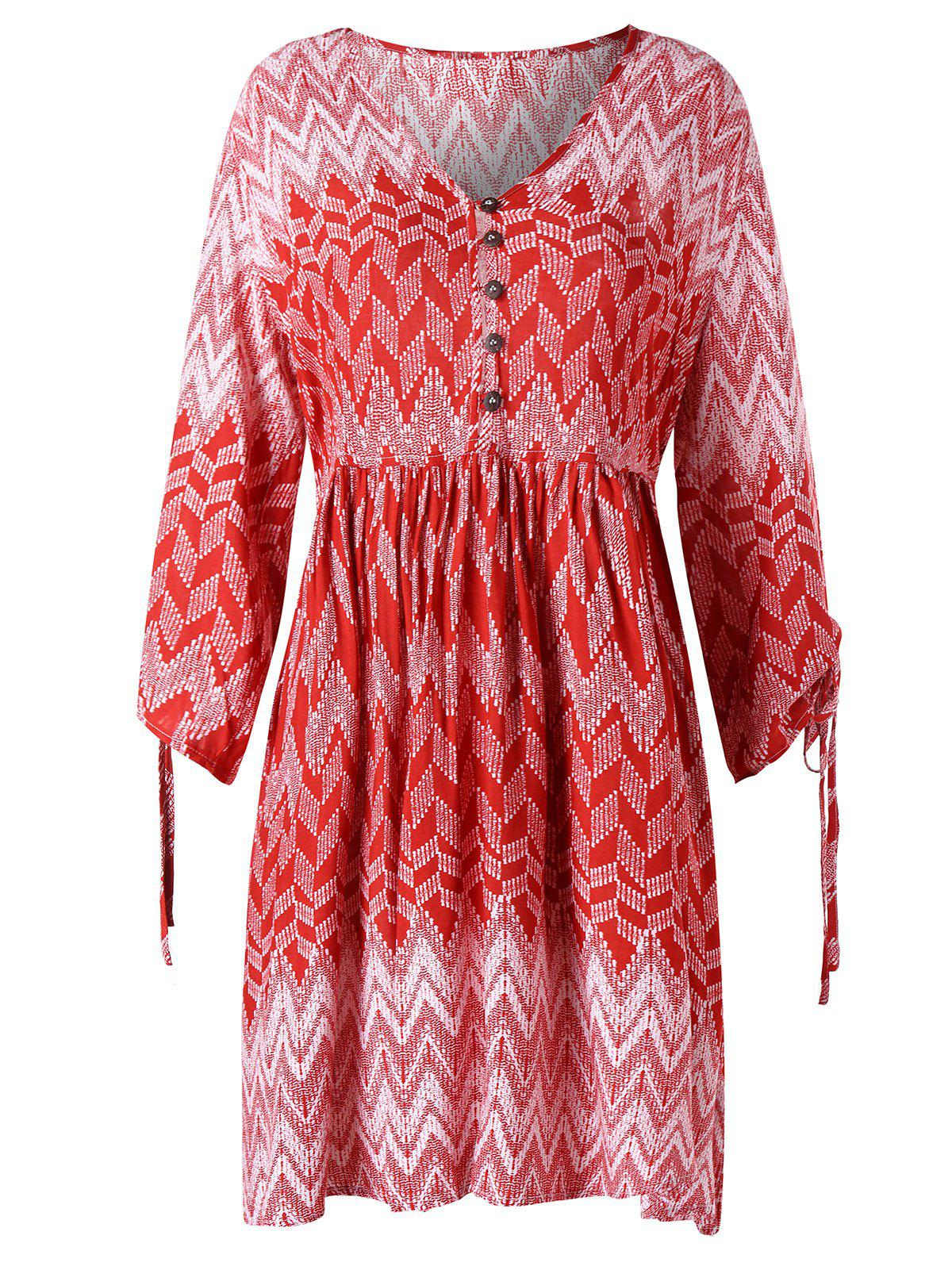 Sale Zigzag Print V Neck Dress