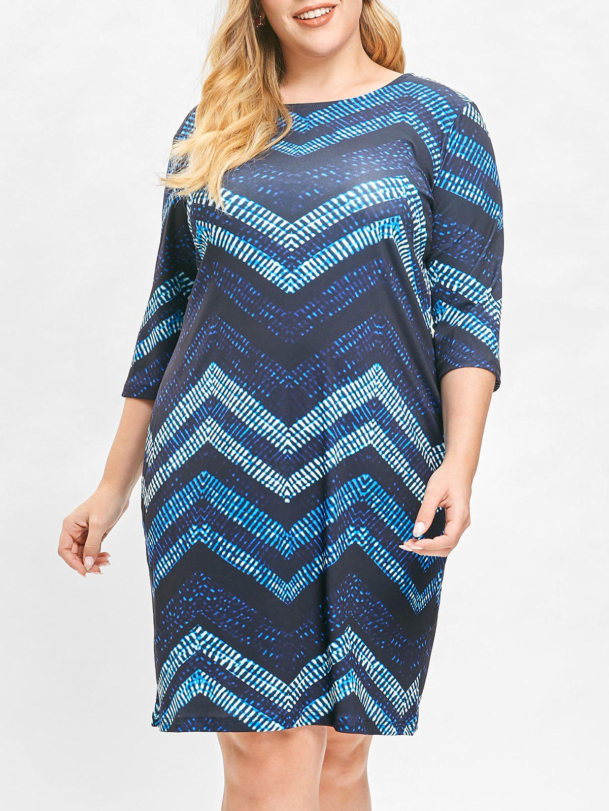 Hot Plus Size Color Block Chervon Stripes Bodycon Dress