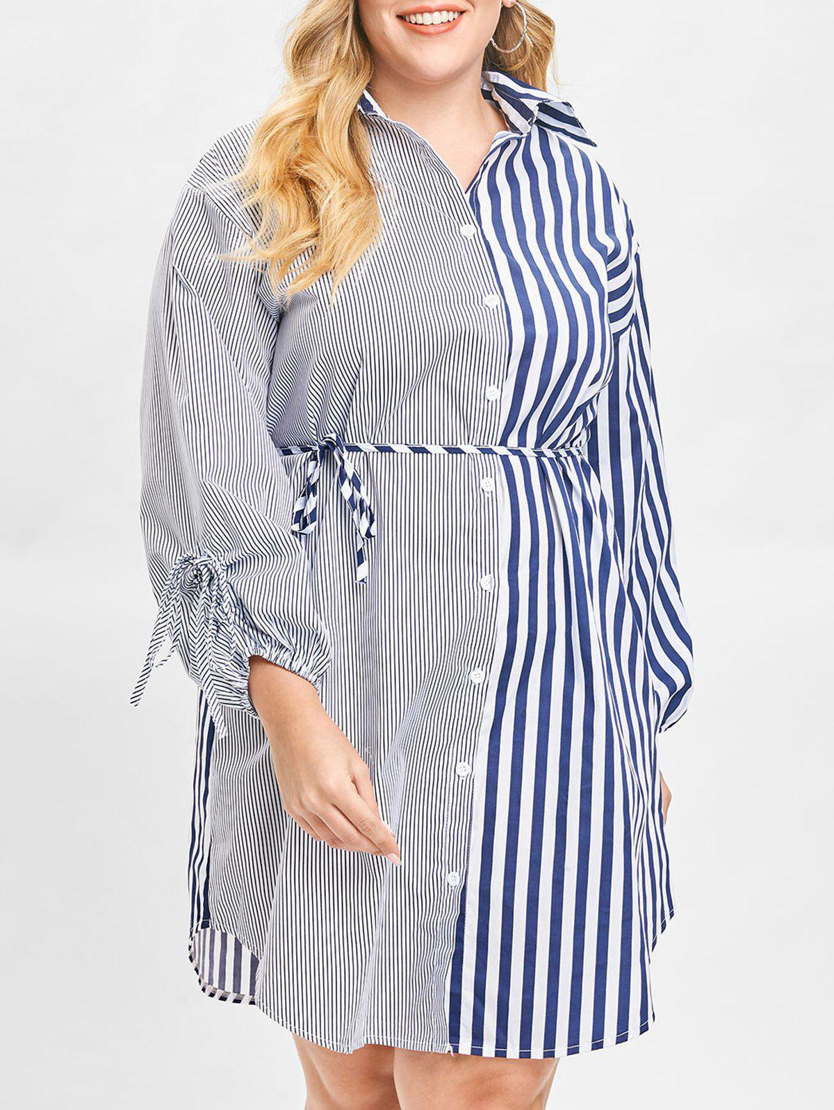 Shops Plus Size Stripe Panel Shirt Dress