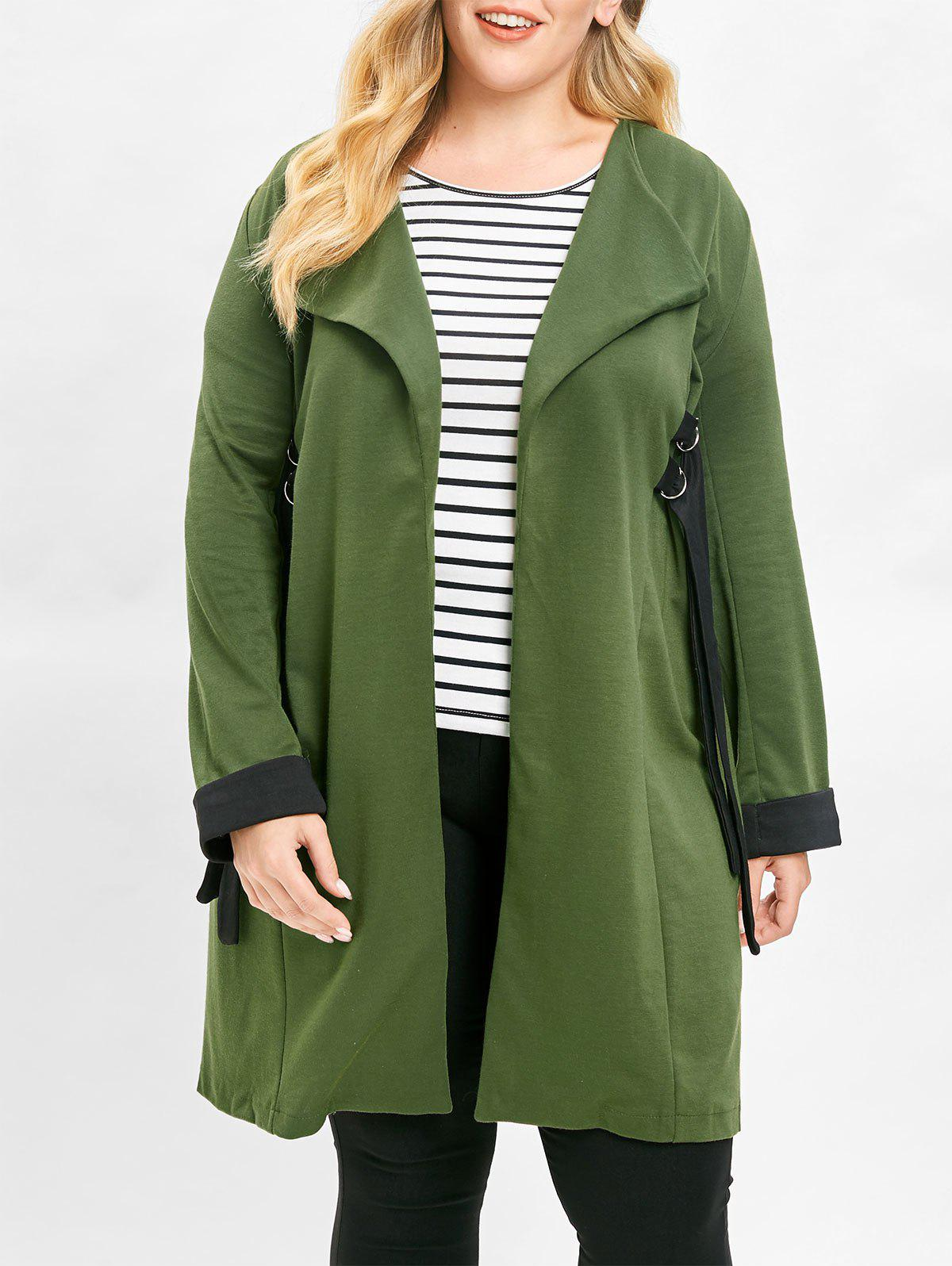 Chic Plus Size Contrast Longline Coat with Open Front