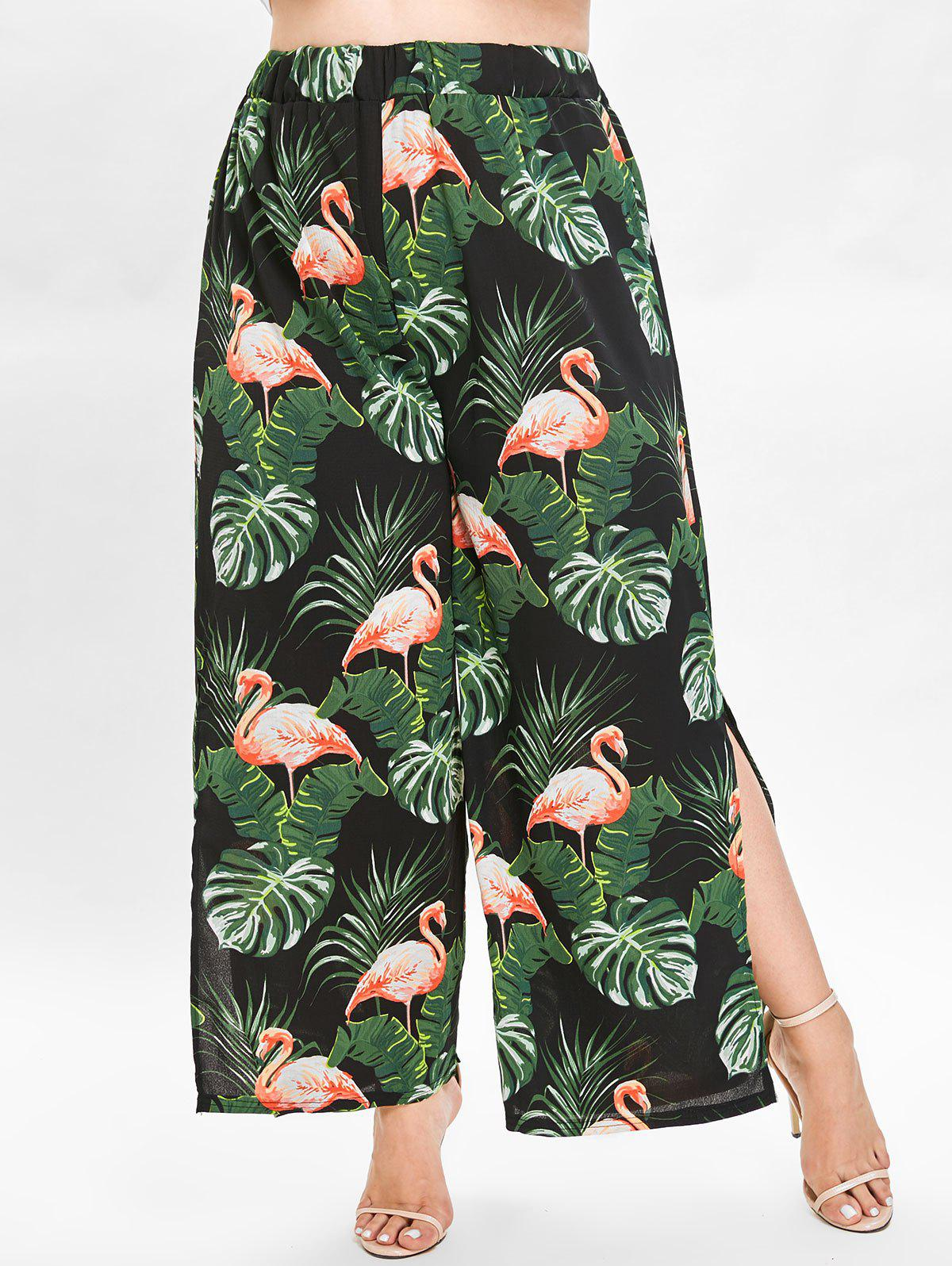Hot Leaf and Flamingo Print Plus Size Wide Leg Pants
