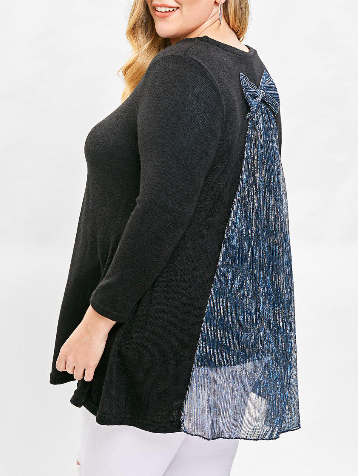 Sale Plus Size Fleece Sweater with Bowknot