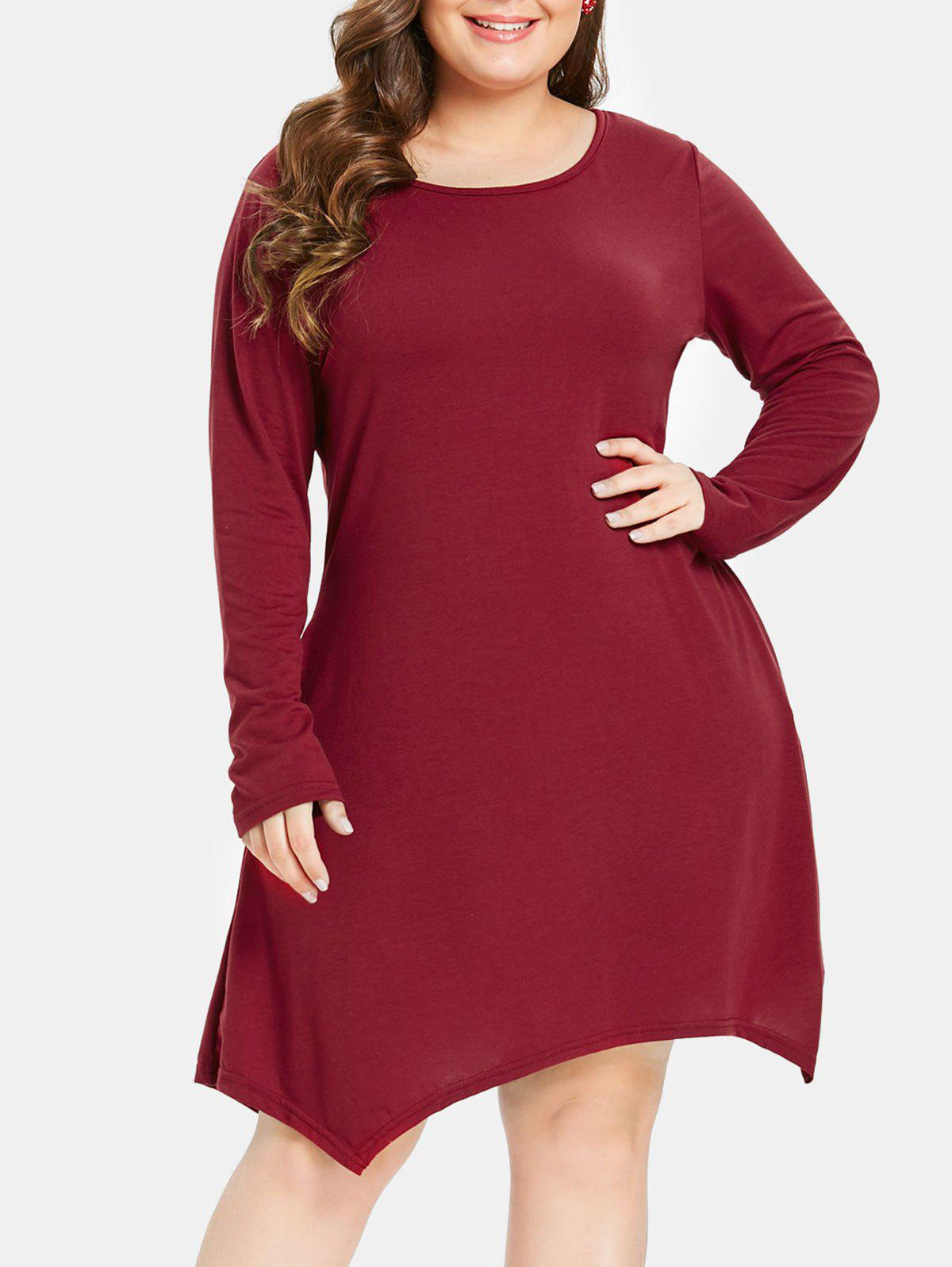 Affordable Plus Size Long Sleeves Swing Dress