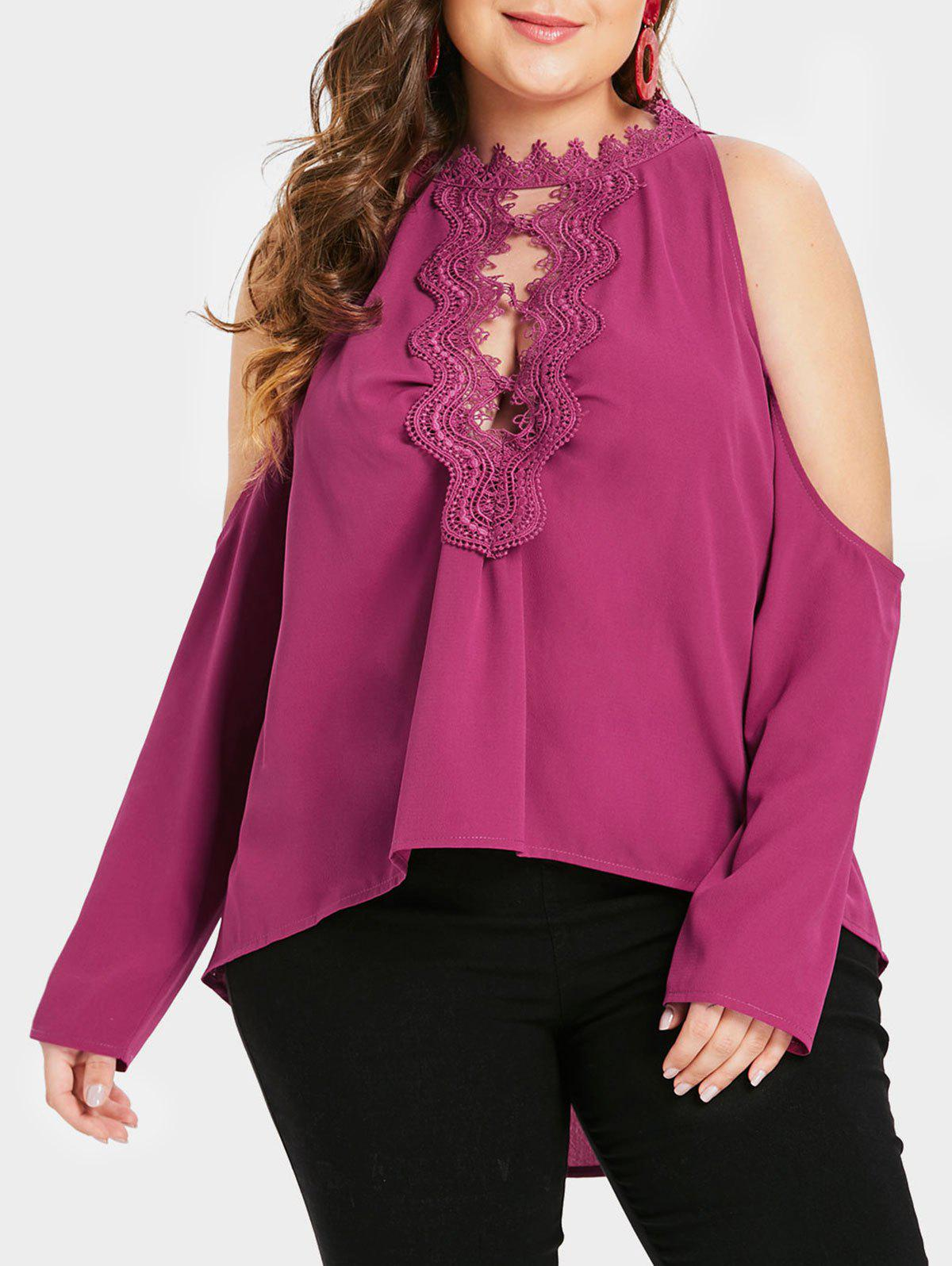 Shops Plus Size Asymmetric Cutout Cold Shoulder Top with Lace