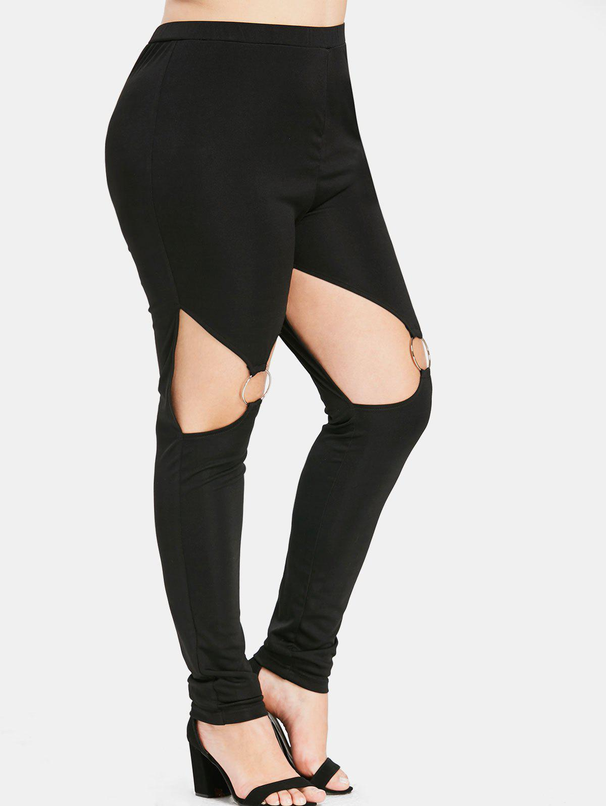 Online Plus Size High Skinny Cutout Leggings with Rings