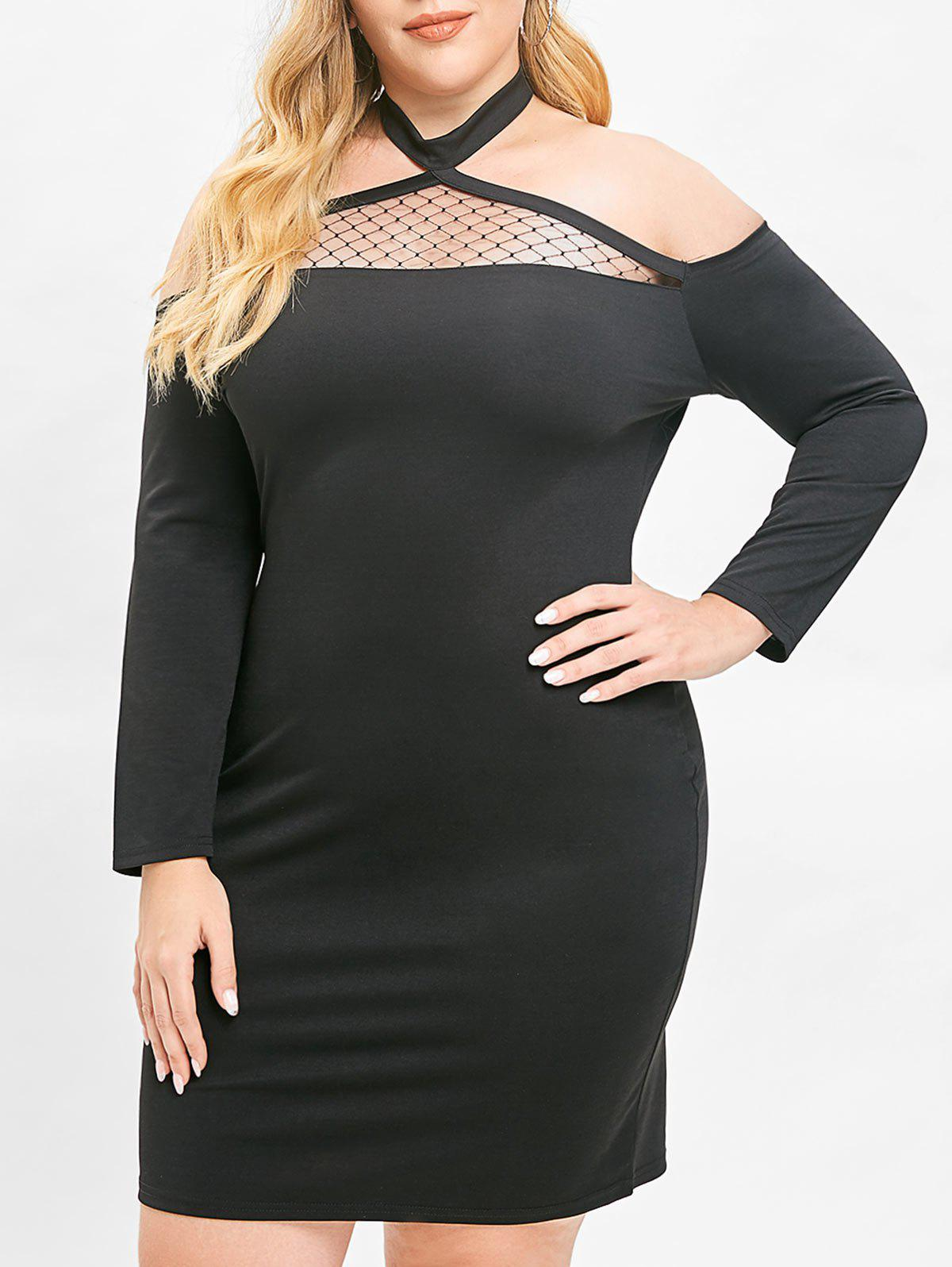 Store Plus Size Cutout Lace Panel Halter Bodycon Dress