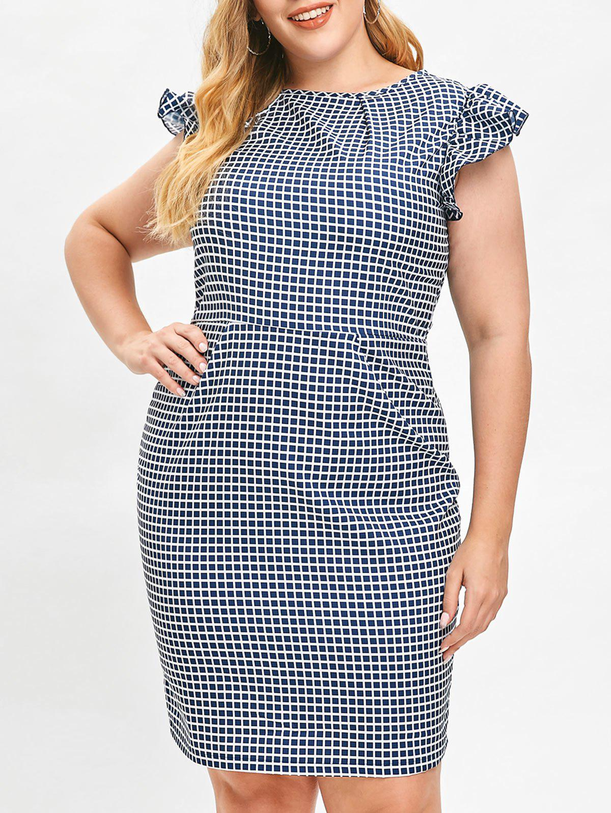 Affordable Ruffle Trim Plus Size Gingham Dress