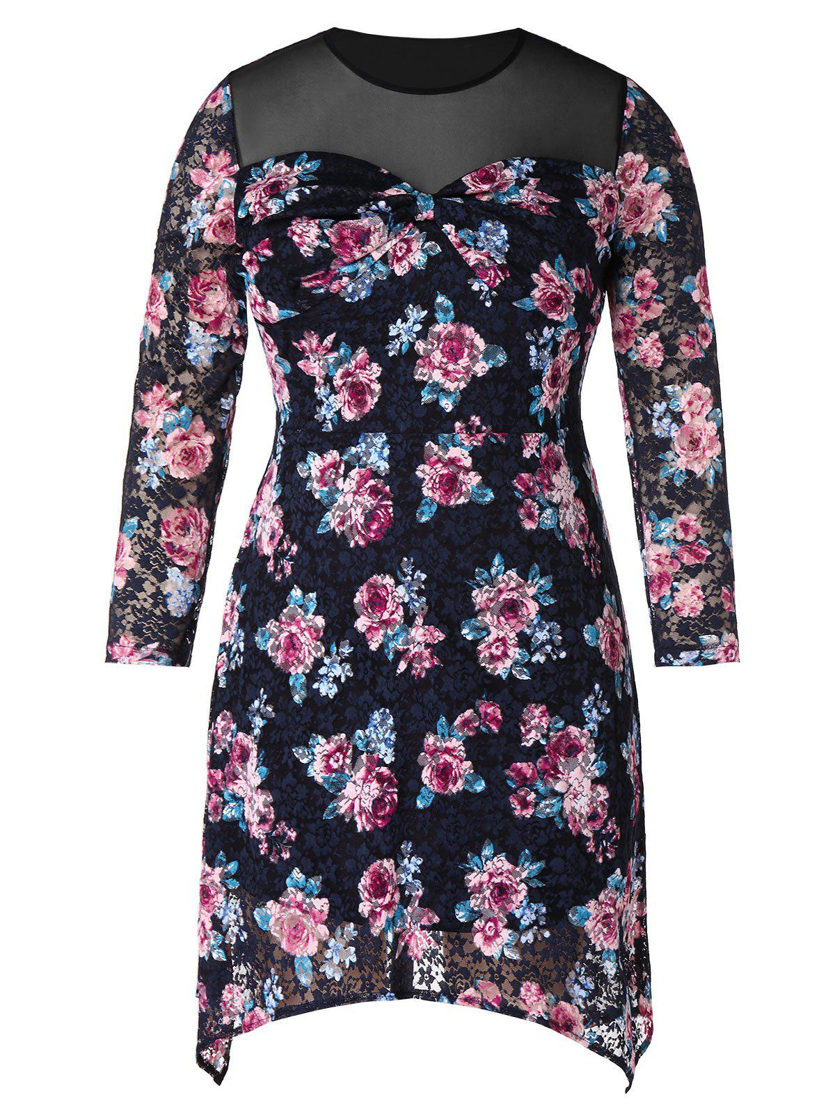 Store Plus Size Mesh Panel Floral Mini Dress