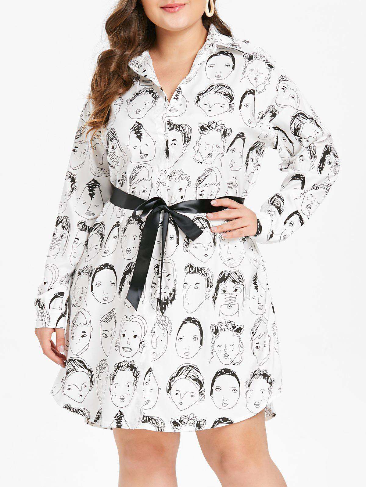 Buy Cartoon Characters Plus Size Printed Belt Shirt Dress