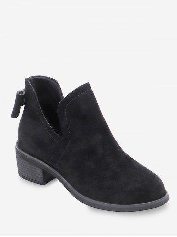 V Cut Bowknot Detail Ankle Boots