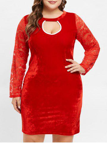 Plus Size Long Sleeves Velvet Bodycon Dress with Lace - RED - L