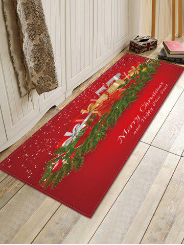Christmas Gifts Pattern Water Absorption Floor Rug - RED - W16 X L47 INCH