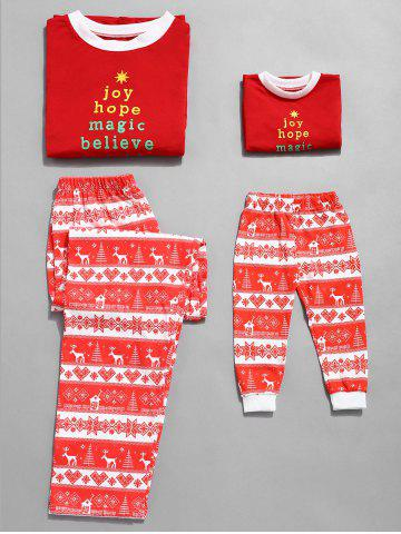 Christmas Letter Print Plus Size Family Pajamas - RED - KID 5T