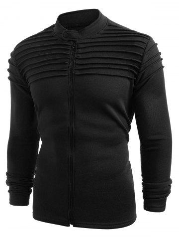 Top Pleated Design Full Zipper Solid Fleece Jacket