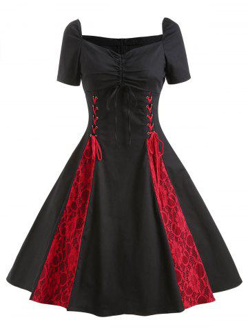 Vintage Lace Insert Ruched Pin Up Dress