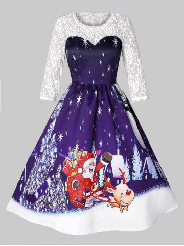 Plus Size Vintage Christmas Graphic Flare Dress with Lace