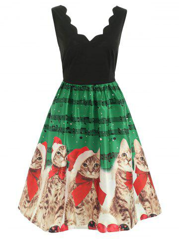 Christmas Musical Notes and Cats Print Dress