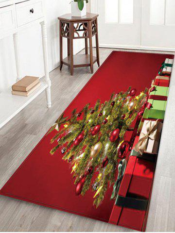 Christmas Tree Gifts Pattern Anti-skid Water Absorption Area Rug - MULTI - W24 X L71 INCH