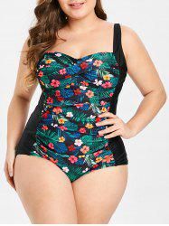 Padded Plus Size Floral Print One-Piece Swimsuit -