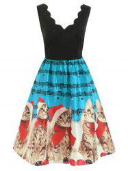 Christmas Musical Notes and Cats Print Dress -