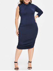 Stylish Stand-Up Collar 3/4 Sleeve Ruched Plus Size Dress For Women -