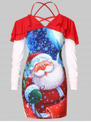 Christmas Plus Size Santa Claus Print T-shirt -