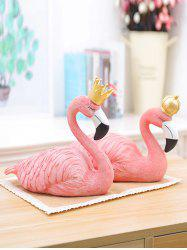 Pair of Desk Decoration Flamingo Couple Resin Sculptures -