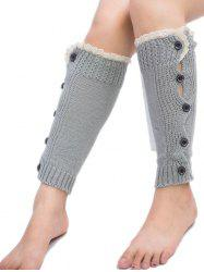 Buttons Side Knitted Leg Warmers -