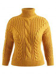 Plus Size Turtleneck Cable Knit Sweater -