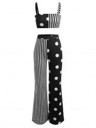 Polka Dot Striped Wide Leg Pants With Crop Top -