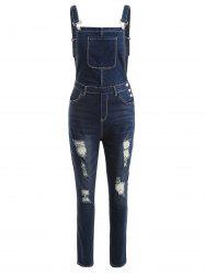 Ripped Denim Suspender Pants -