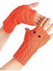 Cartoon Owl Knitted Fingerless Gloves -