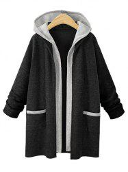 Faux Two Piece Plus Size Hooded Coat -
