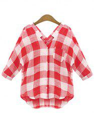 Plus Size V Neck Plaid Shirt -