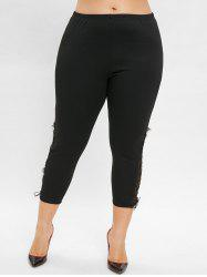 Plus Size Lace Insert Ninth Leggings -