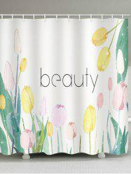 Beauty Flowers Print Waterproof Bathroom Shower Curtain -