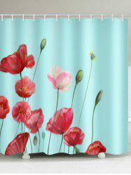 Flowers Print Waterproof Bathroom Shower Curtain -