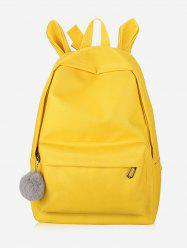 Plush Ball Decoration Canvas Backpack -