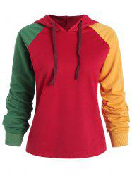 Plus Size Color Block Pullover Hoodie -