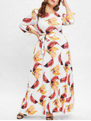Round Neck Plus Size Leaf Print Maxi Dress -