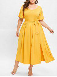 Front Slit Plus Size Belted Mid Calf Dress -